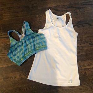 Under Armour workout tank top & sports bra M
